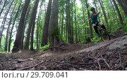 Купить «Woman riding unicycle in the forest 4k», видеоролик № 29709041, снято 6 июня 2017 г. (c) Wavebreak Media / Фотобанк Лори