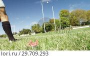 Купить «Rugby player kicking oval ball at a distance 4K 4k», видеоролик № 29709293, снято 9 февраля 2017 г. (c) Wavebreak Media / Фотобанк Лори