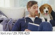 Купить «Smiling man sitting on ground stroking his pet while reading book 4K 4k», видеоролик № 29709429, снято 31 мая 2017 г. (c) Wavebreak Media / Фотобанк Лори