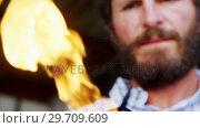 Купить «Craftsman holding acetylene torch in workshop 4k», видеоролик № 29709609, снято 30 мая 2017 г. (c) Wavebreak Media / Фотобанк Лори