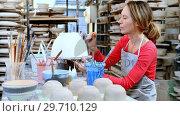 Купить «Female potter decorating bowl 4k», видеоролик № 29710129, снято 6 августа 2017 г. (c) Wavebreak Media / Фотобанк Лори