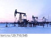 Купить «Pump jack. Extraction of oil. Petroleum concept.», фото № 29710545, снято 31 января 2018 г. (c) bashta / Фотобанк Лори