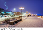 Купить «На набережной Волги в Нижнем Новгороде Volga Embankment in Nizhny Novgorod», фото № 29710649, снято 5 января 2019 г. (c) Baturina Yuliya / Фотобанк Лори