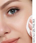 Купить «Young woman with towel on her hair cleaning makeup», фото № 29710761, снято 3 июня 2016 г. (c) Людмила Дутко / Фотобанк Лори