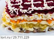 Купить «Russian dressed herring salad», фото № 29711229, снято 26 июня 2018 г. (c) Яков Филимонов / Фотобанк Лори