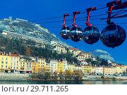 Купить «View of French Alps and Grenoble cable car in autumn», фото № 29711265, снято 7 декабря 2017 г. (c) Яков Филимонов / Фотобанк Лори
