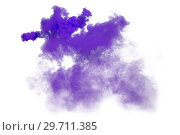 Purple and violet smoke isolated on white background. Стоковое фото, фотограф Евгения Литовченко / Фотобанк Лори
