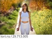 Купить «Young beautiful woman doing yoga in nature», фото № 29713005, снято 29 марта 2017 г. (c) Ingram Publishing / Фотобанк Лори