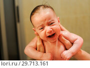 Купить «Baby girl two months old having her bath», фото № 29713161, снято 17 апреля 2011 г. (c) Ingram Publishing / Фотобанк Лори