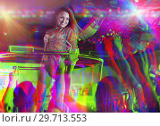 Купить «Portrait with glitch effect of female go-go dancer», фото № 29713553, снято 28 августа 2017 г. (c) Яков Филимонов / Фотобанк Лори