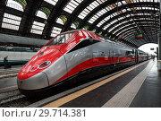 Купить «High-speed Eurostar train at the railway station in Milan», фото № 29714381, снято 7 мая 2014 г. (c) Наталья Волкова / Фотобанк Лори