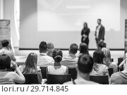 Купить «Business speakers giving a talk at business conference event.», фото № 29714845, снято 15 июня 2018 г. (c) Matej Kastelic / Фотобанк Лори