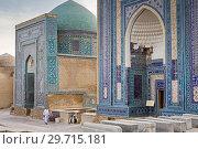 Купить «At right Ulugh Sultan Begim mausoleum and at left Ustad Ali mausoleum, Shah-i-Zinda complex, Samarkand, Uzbekistan.», фото № 29715181, снято 23 июня 2019 г. (c) age Fotostock / Фотобанк Лори