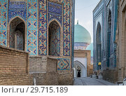 Купить «Shad-i-Mulk Aqa mausoleum, Amirzadeh mausoleum and Shirin Biqa Aqa mausoleum, Shah-i-Zinda complex, Samarkand, Uzbekistan.», фото № 29715189, снято 24 июня 2019 г. (c) age Fotostock / Фотобанк Лори