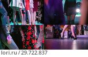 Купить «4 in 1 - fashion models walking on the stage», видеоролик № 29722837, снято 23 марта 2019 г. (c) Константин Шишкин / Фотобанк Лори