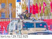 """Купить «Russia, Samara, May 2018: Army special armored vehicle """"Tiger"""" in the city.», фото № 29722925, снято 5 мая 2018 г. (c) Акиньшин Владимир / Фотобанк Лори"""