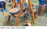 Купить «Russia, Samara, July, 2018: Blacksmithing workshop. Ethno-historical festival with the reconstruction of the battle of 1391 (Timur and Tokhtamysh)», фото № 29723053, снято 29 июля 2018 г. (c) Акиньшин Владимир / Фотобанк Лори