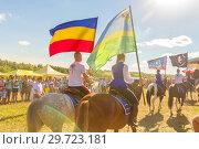 Купить «Russia, Samara, July, 2018: Solemn departure of the group of horse race at the festival.», фото № 29723181, снято 29 июля 2018 г. (c) Акиньшин Владимир / Фотобанк Лори