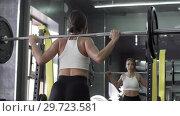 Купить «Pretty Young Woman Takes A Barbell To Perform A Squat», видеоролик № 29723581, снято 20 мая 2019 г. (c) Pavel Biryukov / Фотобанк Лори