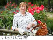 Купить «mature gardener woman basket», фото № 29723981, снято 23 января 2019 г. (c) Яков Филимонов / Фотобанк Лори