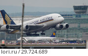 Купить «Airbus 380 Singapore Airlines take-off», видеоролик № 29724689, снято 20 июля 2017 г. (c) Игорь Жоров / Фотобанк Лори