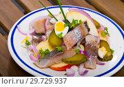 Купить «Appetizing dish Salad Herring with apples», фото № 29729937, снято 21 января 2019 г. (c) Яков Филимонов / Фотобанк Лори