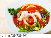 Купить «Spicy tomato soup with sea squids and greens in a white bowl», фото № 29729961, снято 19 июня 2019 г. (c) Яков Филимонов / Фотобанк Лори