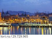 Купить «Barcelona city and Port in dawn. Catalonia», фото № 29729965, снято 8 июня 2014 г. (c) Яков Филимонов / Фотобанк Лори