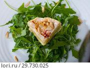 Купить «Camembert on arugula with pine nuts», фото № 29730025, снято 18 января 2019 г. (c) Яков Филимонов / Фотобанк Лори