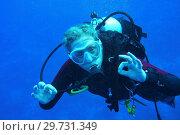Купить «Close up of femal diver showing the ok sign.», фото № 29731349, снято 28 марта 2018 г. (c) age Fotostock / Фотобанк Лори