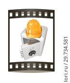 Купить «Safe and hard hat. Technology icon. 3d render. Film strip.», фото № 29734581, снято 17 сентября 2019 г. (c) Guru3d / Фотобанк Лори