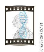 Купить «3D medical background with DNA strands and human. 3d render. Film strip.», фото № 29735181, снято 17 сентября 2019 г. (c) Guru3d / Фотобанк Лори