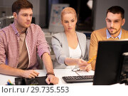 Купить «business team with computer working late at office», фото № 29735553, снято 26 ноября 2017 г. (c) Syda Productions / Фотобанк Лори