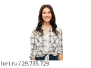 Купить «young woman or teenage girl in checkered shirt», фото № 29735729, снято 10 ноября 2018 г. (c) Syda Productions / Фотобанк Лори