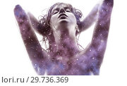 Купить «double exposure of woman and purple galaxy», фото № 29736369, снято 30 октября 2009 г. (c) Syda Productions / Фотобанк Лори
