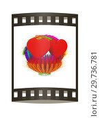 Купить «Heart in colored basket of the ears of wheat. Wedding concept. 3d render. Film strip.», фото № 29736781, снято 17 сентября 2019 г. (c) Guru3d / Фотобанк Лори