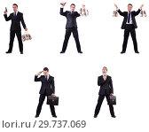 Купить «Businessman with money sacks, briefcase and handgun», фото № 29737069, снято 22 марта 2019 г. (c) Elnur / Фотобанк Лори