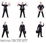 Купить «Businessman with money sacks, briefcase and handgun», фото № 29737077, снято 22 марта 2019 г. (c) Elnur / Фотобанк Лори