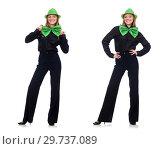 Купить «Young woman with green giant bow-tie», фото № 29737089, снято 22 января 2015 г. (c) Elnur / Фотобанк Лори