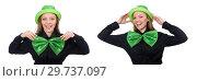 Купить «Young woman with green giant bow-tie», фото № 29737097, снято 22 января 2015 г. (c) Elnur / Фотобанк Лори