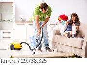 Купить «Husband helping leg injured wife in housework», фото № 29738325, снято 4 октября 2018 г. (c) Elnur / Фотобанк Лори
