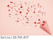 Купить «birthday hat with confetti on paper background», фото № 29741417, снято 3 марта 2018 г. (c) Майя Крученкова / Фотобанк Лори