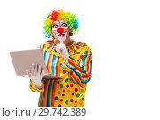 Купить «Male clown isolated on white», фото № 29742389, снято 28 сентября 2018 г. (c) Elnur / Фотобанк Лори