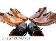 Купить «Selection of shoes isolated on white background», фото № 29743769, снято 18 октября 2018 г. (c) Elnur / Фотобанк Лори