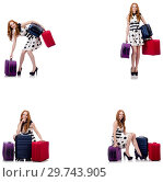 Купить «Beautiful woman in polka dot dress with suitcases isolated on wh», фото № 29743905, снято 25 февраля 2020 г. (c) Elnur / Фотобанк Лори