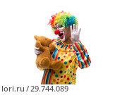 Купить «Funny clown isolated on white background», фото № 29744089, снято 28 сентября 2018 г. (c) Elnur / Фотобанк Лори