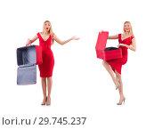 Купить «Woman in red dress and travel case isolated on white», фото № 29745237, снято 30 ноября 2013 г. (c) Elnur / Фотобанк Лори