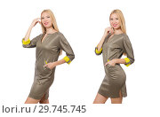 Купить «Blondie in gray satin dress isolated on white», фото № 29745745, снято 17 сентября 2014 г. (c) Elnur / Фотобанк Лори