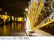 Купить «Christmas (New Year holidays) decoration in Moscow (at night), Russia. Lubyanskaya (Lubyanka) Square.», фото № 29750993, снято 13 января 2019 г. (c) Владимир Журавлев / Фотобанк Лори