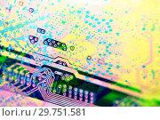 Купить «Abstract pattern with circuit board electronic elements», иллюстрация № 29751581 (c) bashta / Фотобанк Лори